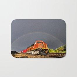 BNSF Train with Rainbow at Henrietta Missouri Bath Mat