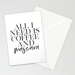 GIRLS ROOM DECOR, All I Need Is Coffee And Mascara, Funny Print, Coffee Sign, Quote Prints,Gift For Stationery Cards