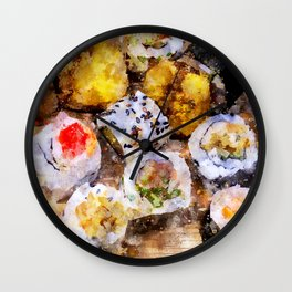 Sushi board - watercolor Wall Clock