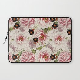 Small Vintage Peony and Ipomea Pattern - Smelling Dreams Laptop Sleeve