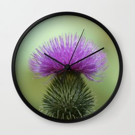 Bright Purple and Green Thistle Wall Clock
