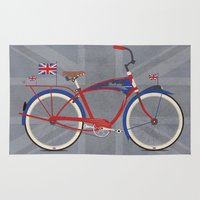 brompton Area & Throw Rugs featuring British Bicycle by Wyatt Design