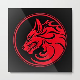Red and Black Growling Wolf Disc Metal Print