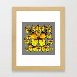 CLUSTER YELLOW-BROWN  BUTTERFLIES GREY  DESIGN Framed Art Print