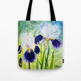 Garden Irises - purple iris mixed media art Tote Bag