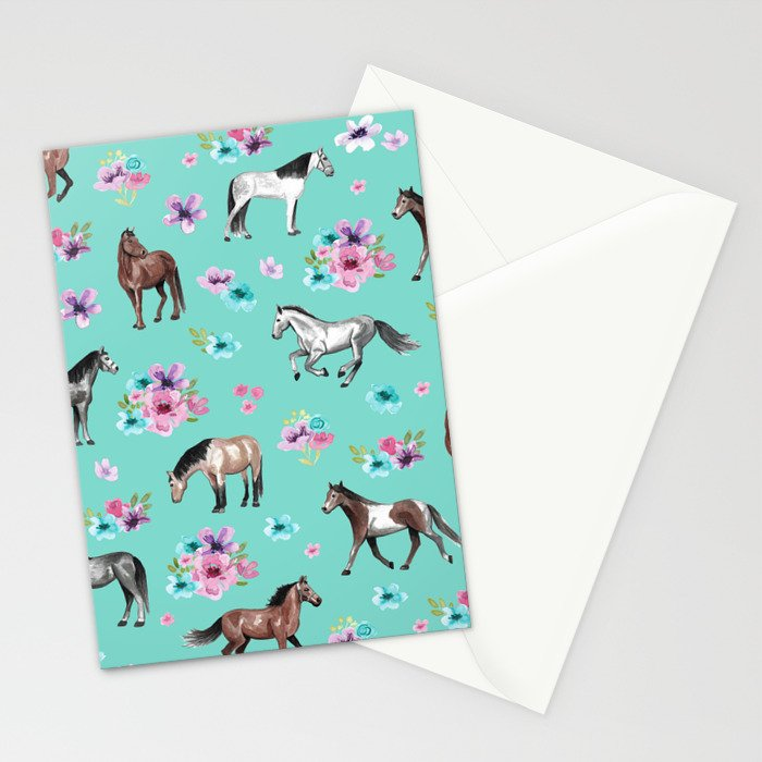 Hand drawn horses, Flower horses, Floral Pattern, Aqua Blue Stationery Cards