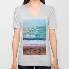 sandy beach with blue water and blue sky in summer Unisex V-Neck