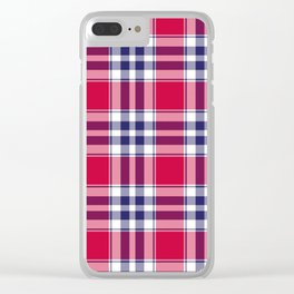 Big Red Plaid Clear iPhone Case