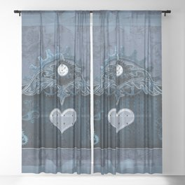 A touch of steampunk with elegant heart Sheer Curtain