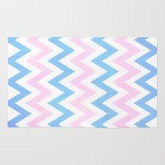 Blue pink Chevron Pattern Rug