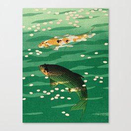 Vintage Japanese Woodblock Print Asian Art Koi Pond Fish Turquoise Green Water Cherry Blossom Canvas Print