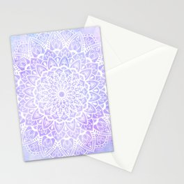White Mandala on Pastel Blue and Purple Textured Background Stationery Cards
