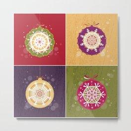 Christmas Retro Ornaments Metal Print