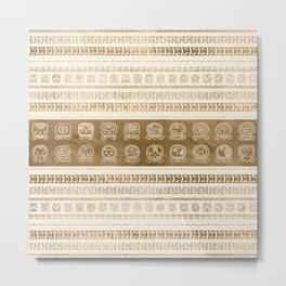 Maya Calendar Glyphs gold on pastel beige Metal Print