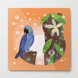 Hyacinth macaw and vanilla Metal Print