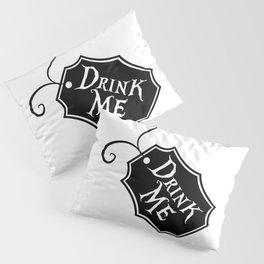 """Drink Me"" Alice in Wonderland styled Bottle Tag Design in Black & White Pillow Sham"