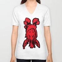 red hood V-neck T-shirts featuring Miss Red riding hood  by Sammycrafts