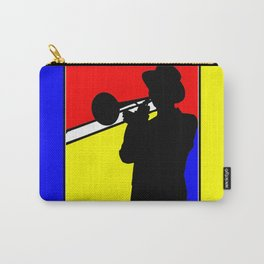 Jazz trombone player silhouette mondrian colors Carry-All Pouch