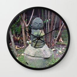 cute mossy jizo statue Wall Clock