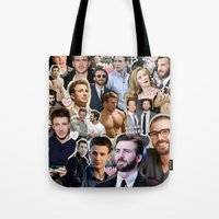 chris evans Tote Bags featuring Chris Evans by lastminutebinge
