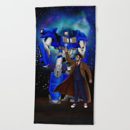 10th Doctor who with Giant retro Robot Phone Box Beach Towel