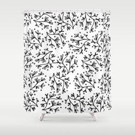 Modern hand drawn black white floral polka dots Shower Curtain