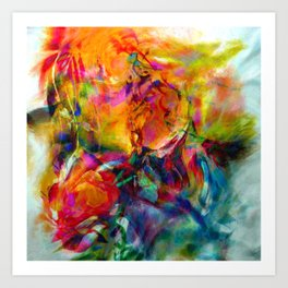 abstract about wine, flowers, party Art Print