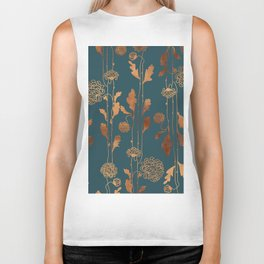 Art Deco Copper Flowers Biker Tank