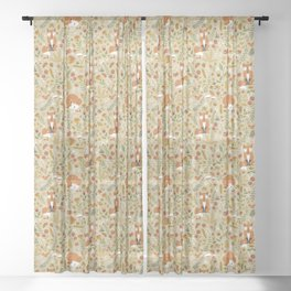 Foxes with Fall Foliage Sheer Curtain