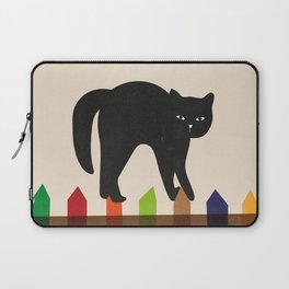 Black cat on the colorful fence Laptop Sleeve