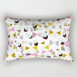 Ralea - abstract design triangle geometric circle print texture dots mid century modern graphic  Rectangular Pillow