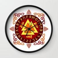 nordic Wall Clocks featuring Nordic Valknut by Spiro Vasilevski
