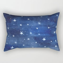 Midnight Stars Night Watercolor Painting by Robayre Rectangular Pillow