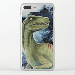 Raptor in Space Clear iPhone Case