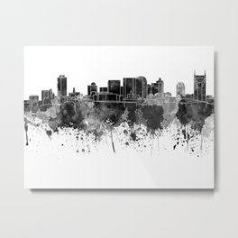 Nashville skyline in black watercolor Metal Print
