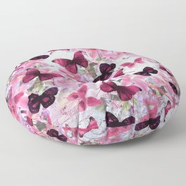 Rose pink lavender floral collage whimsical butterfly Floor Pillow