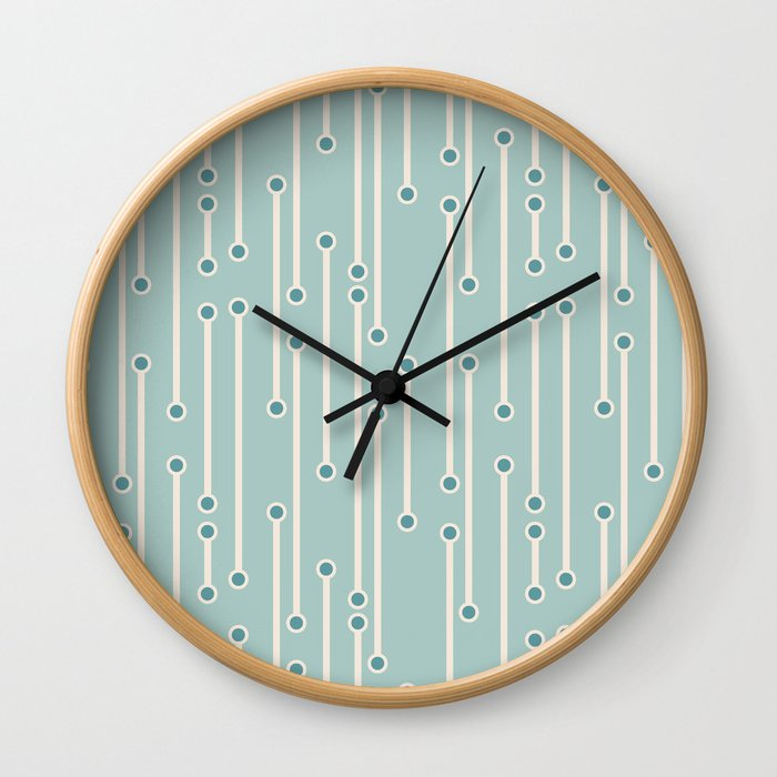 Dotted lines in cream, teal and sea foam Wall Clock