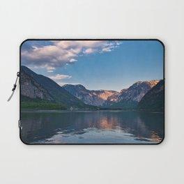 Beautiful sunset in Hallstatt village above the lake, Austria Laptop Sleeve