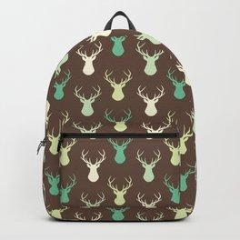 Brown ivory pastel green vector deer animal pattern Backpack