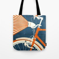 bicycle Tote Bags featuring Bicycle Light by Fernando Vieira
