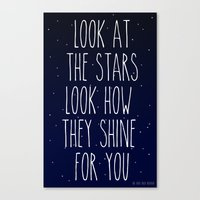 coldplay Canvas Prints featuring Look How They Shine For You by Adel
