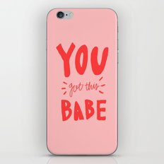 You got this babe - pink and red hand lettering iPhone & iPod Skin