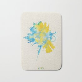 Kiev, Ukraine Colorful Skyround / Skyline Watercolor Painting Bath Mat