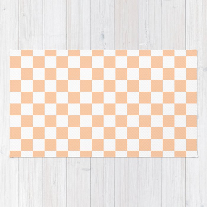 White And Deep Peach Orange Checkerboard Rug