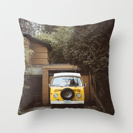 Yellow Van Ready For Road Throw Pillow