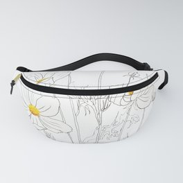 white cosmos flowers  ink and watercolor Fanny Pack