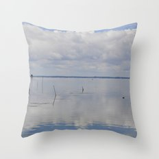 Picture Perfect Blue Sky Water Bay Scene Landscape  Throw Pillow