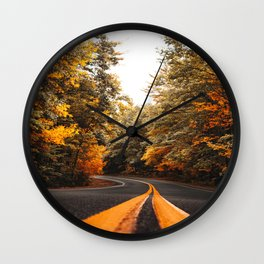 on the road in vermont Wall Clock