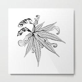 Marijuana leaf with smoke Metal Print