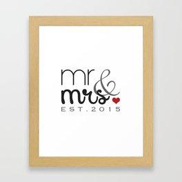 Mr. & Mrs. Typography - EST. 2015 Framed Art Print